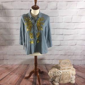 Anthropologie Maeve Sequin Shirt Cute!